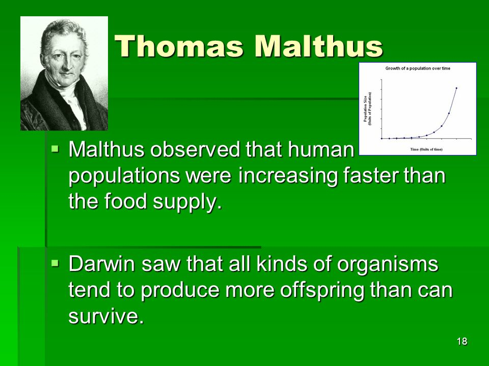 Thomas Malthus Malthus observed that human populations were increasing faster than the food supply. Malthus observed that human populations were incre