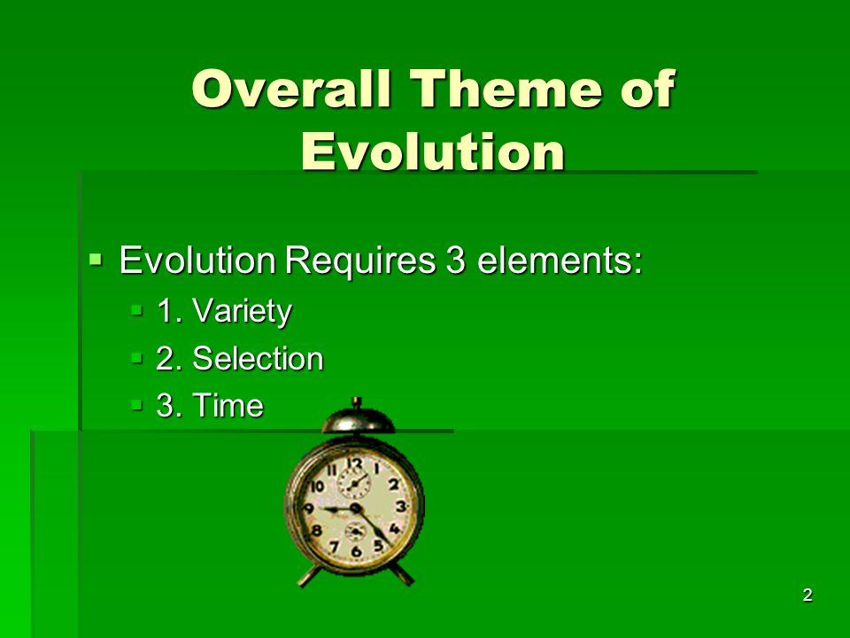 Overall Theme of Evolution Overall Theme of Evolution Evolution Requires 3 elements: Evolution Requires 3 elements: 1. Variety 1. Variety 2. Selection
