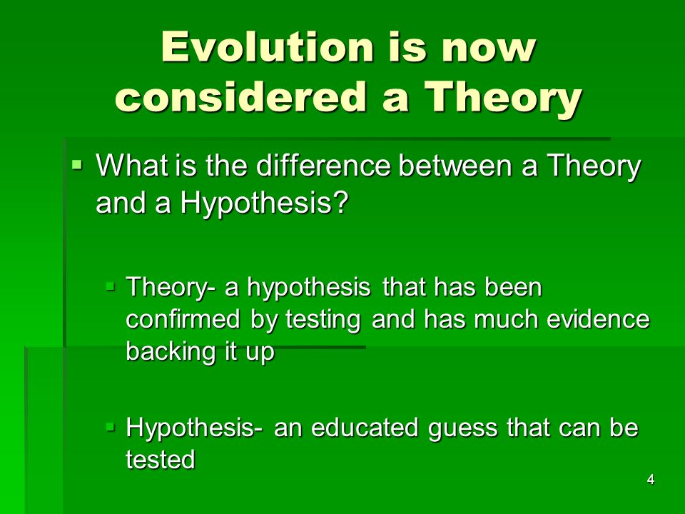 Evolution is now considered a Theory What is the difference between a Theory and a Hypothesis? What is the difference between a Theory and a Hypothesi