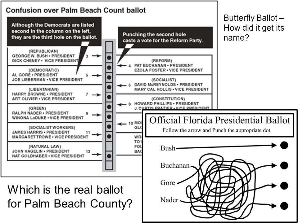 Which is the real ballot for Palm Beach County? Butterfly Ballot – How did it get its name?