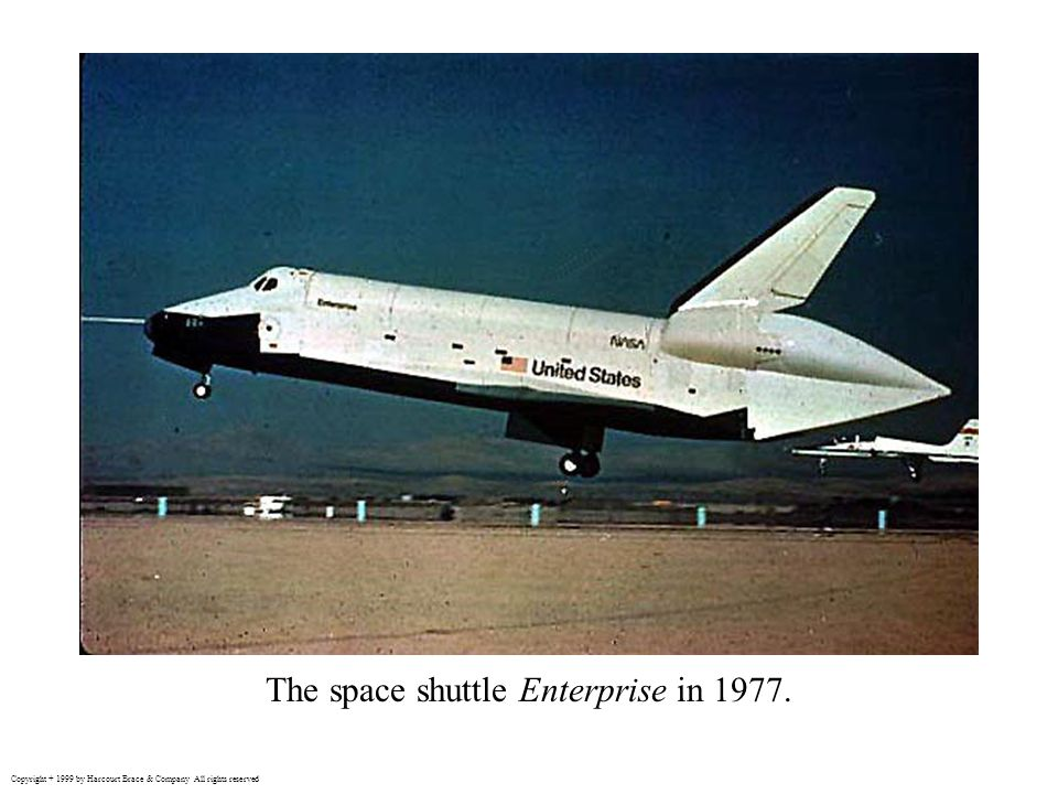 The space shuttle Enterprise in 1977. Copyright + 1999 by Harcourt Brace & Company All rights reserved