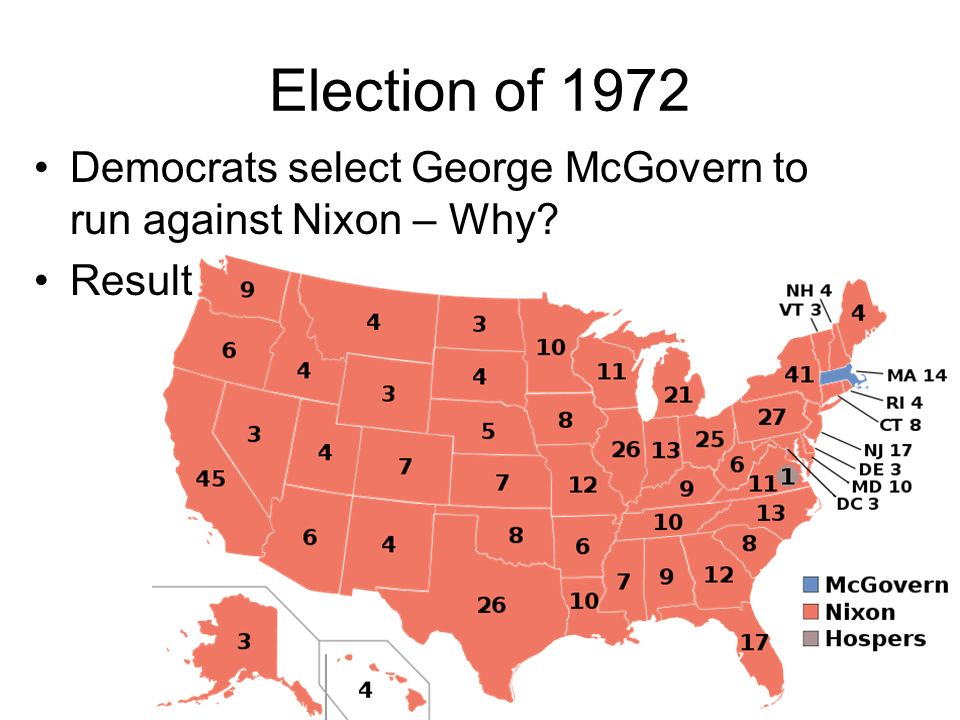 Election of 1972 Democrats select George McGovern to run against Nixon – Why? Result