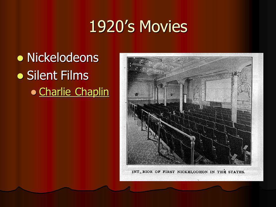 1920s Movies Nickelodeons Nickelodeons Silent Films Silent Films Charlie Chaplin Charlie Chaplin Charlie Chaplin Charlie Chaplin