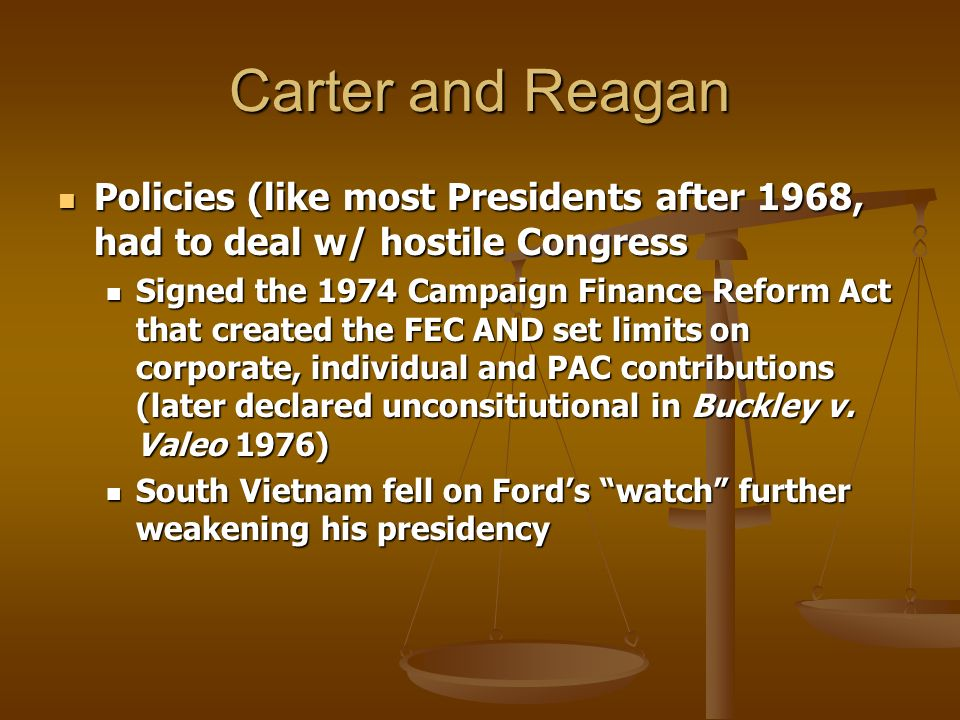 Carter and Reagan Policies (like most Presidents after 1968, had to deal w/ hostile Congress Policies (like most Presidents after 1968, had to deal w/