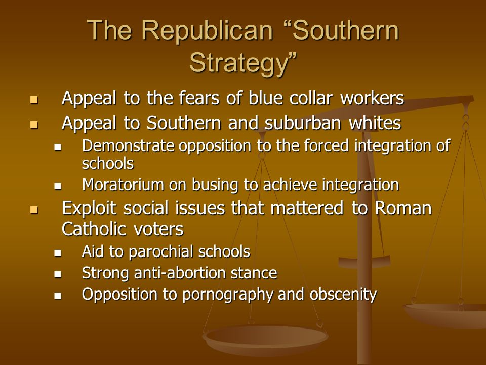 The Republican Southern Strategy Appeal to the fears of blue collar workers Appeal to the fears of blue collar workers Appeal to Southern and suburban