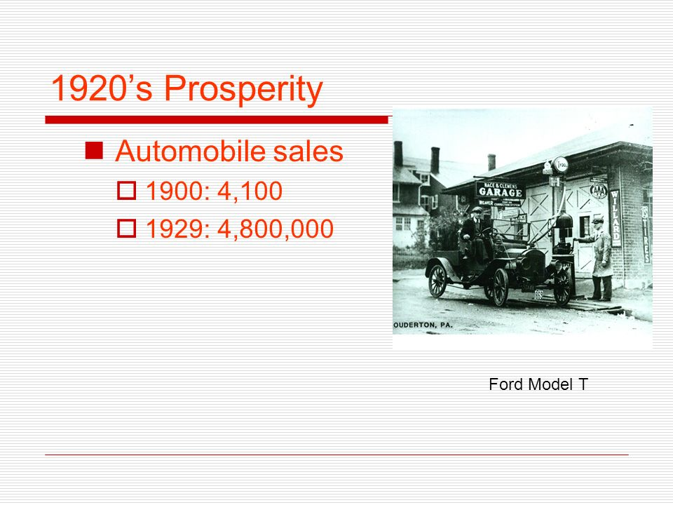 1920s Prosperity Automobile sales 1900: 4,100 1929: 4,800,000 Ford Model T
