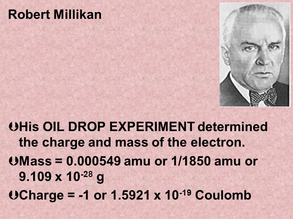Robert Millikan ÞHis OIL DROP EXPERIMENT determined the charge and mass of the electron. ÞMass = 0.000549 amu or 1/1850 amu or 9.109 x 10 -28 g ÞCharg