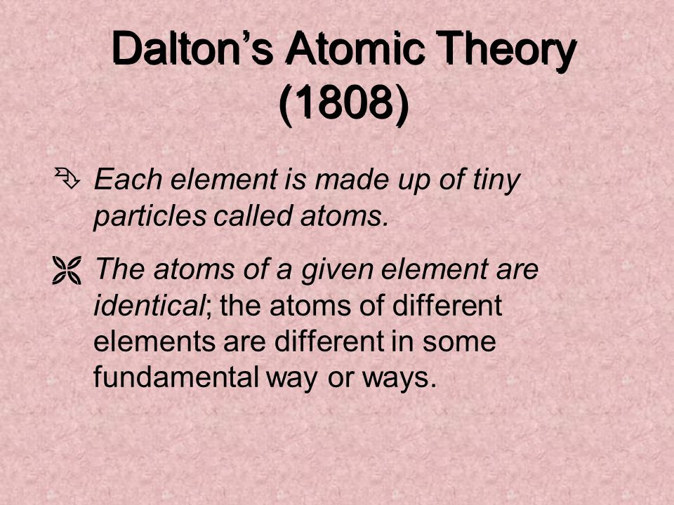 Daltons Atomic Theory (1808) ÊEach element is made up of tiny particles called atoms. ËThe atoms of a given element are identical; the atoms of differ