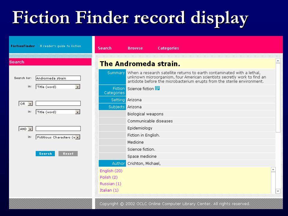 Fiction Finder result set display