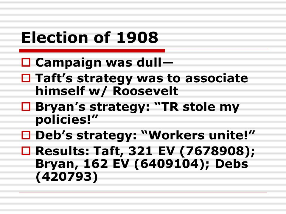 Election of 1908 Campaign was dull Tafts strategy was to associate himself w/ Roosevelt Bryans strategy: TR stole my policies! Debs strategy: Workers