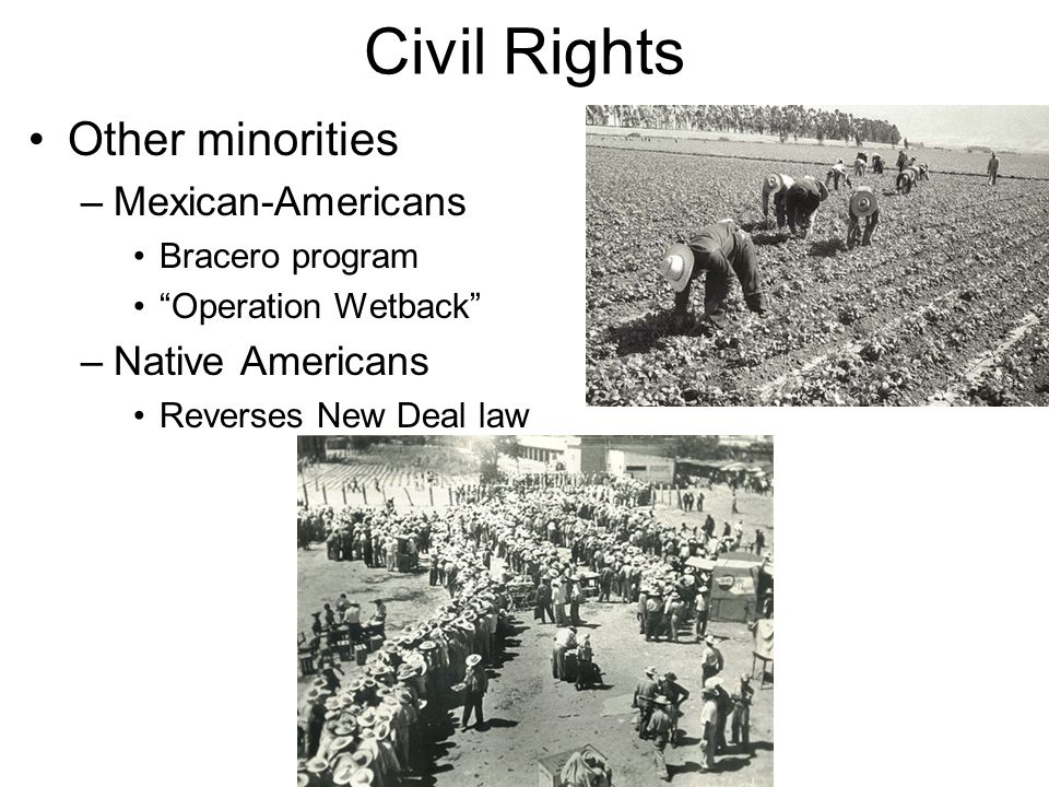 Civil Rights Other minorities –Mexican-Americans Bracero program Operation Wetback –Native Americans Reverses New Deal law