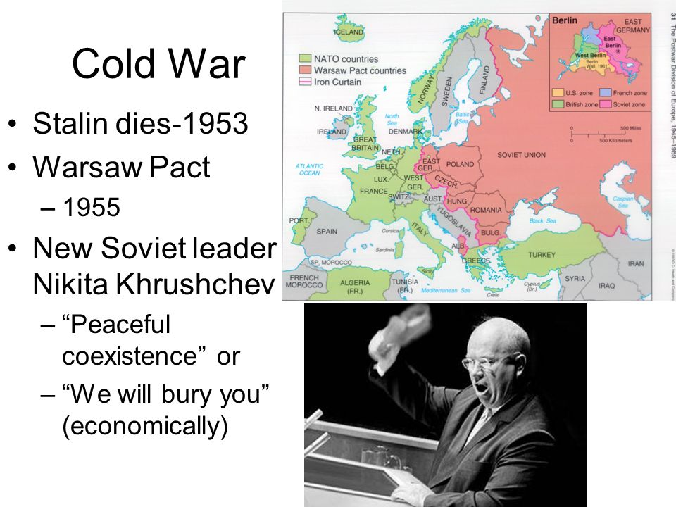Cold War Stalin dies-1953 Warsaw Pact –1955 New Soviet leader – Nikita Khrushchev –Peaceful coexistence or –We will bury you (economically)