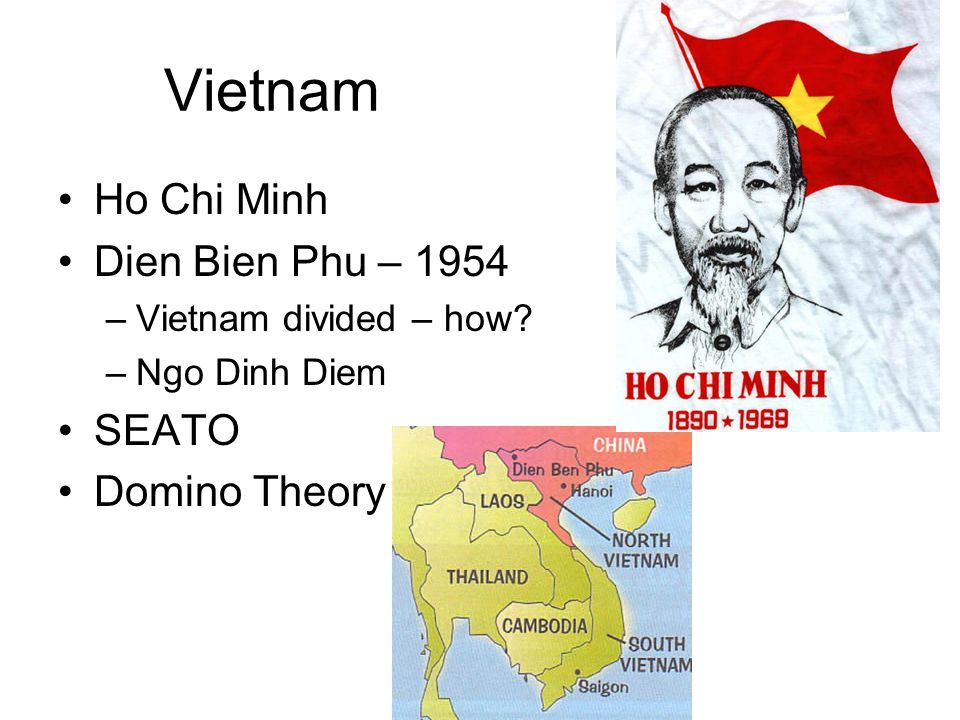 Vietnam Ho Chi Minh Dien Bien Phu – 1954 –Vietnam divided – how? –Ngo Dinh Diem SEATO Domino Theory