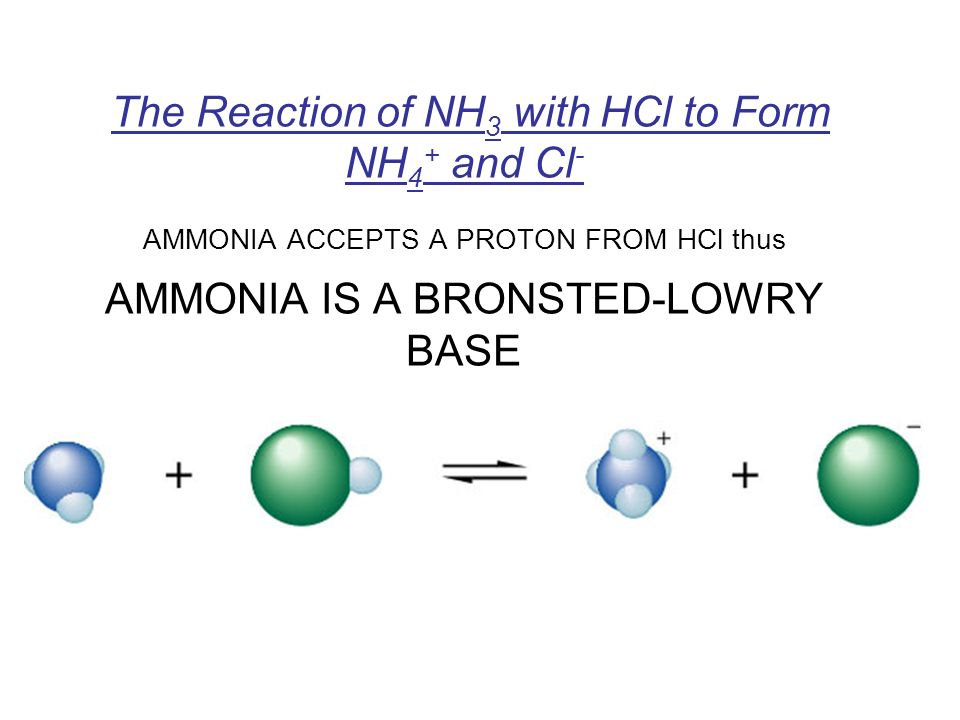The Reaction of NH 3 with HCl to Form NH 4 + and Cl - AMMONIA ACCEPTS A PROTON FROM HCl thus AMMONIA IS A BRONSTED-LOWRY BASE