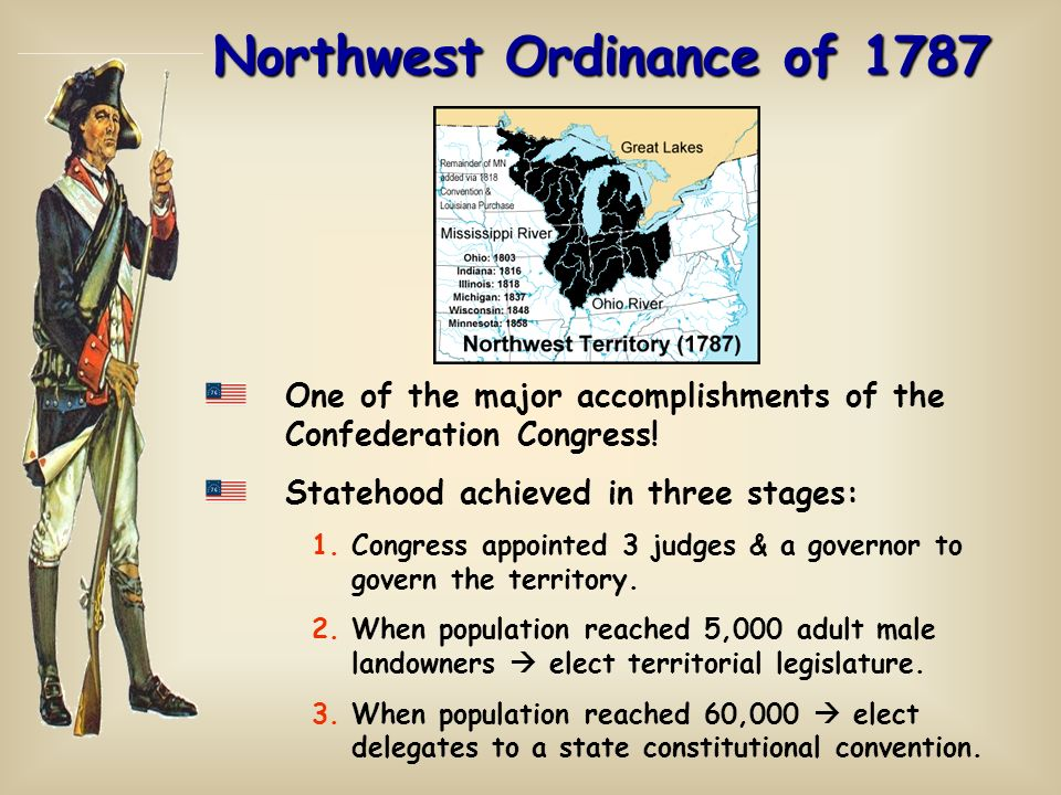 Northwest Ordinance of 1787 One of the major accomplishments of the Confederation Congress! Statehood achieved in three stages: 1.Congress appointed 3