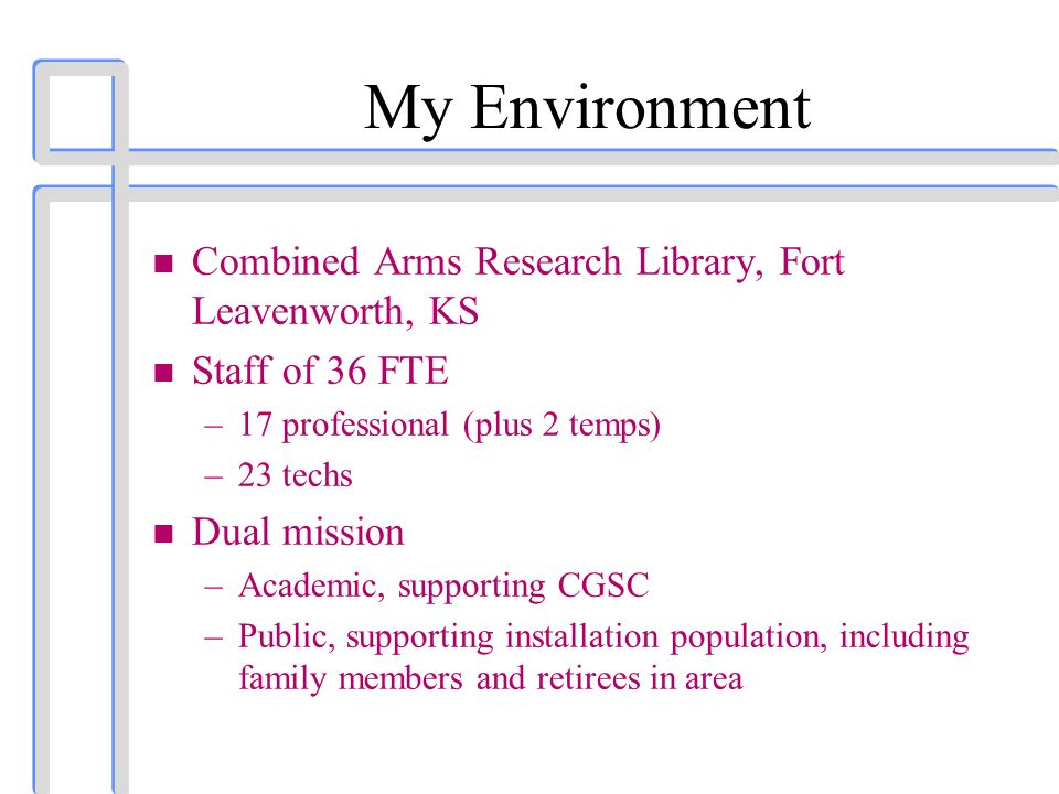 My Environment n Combined Arms Research Library, Fort Leavenworth, KS n Staff of 36 FTE –17 professional (plus 2 temps) –23 techs n Dual mission –Academic, supporting CGSC –Public, supporting installation population, including family members and retirees in area