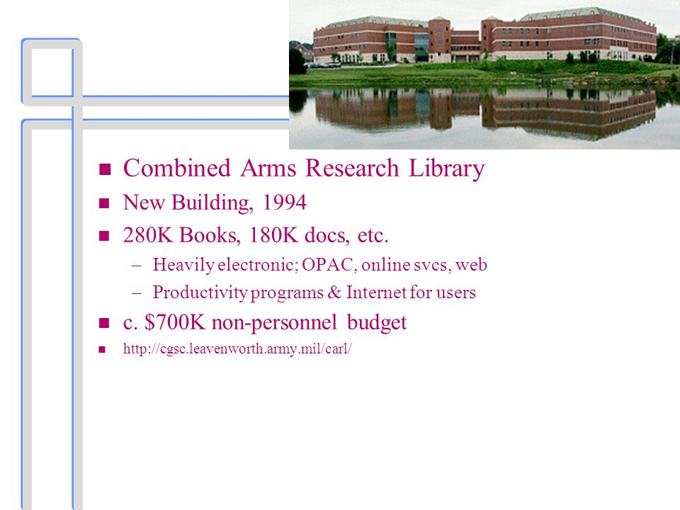 n Combined Arms Research Library n New Building, 1994 n 280K Books, 180K docs, etc.