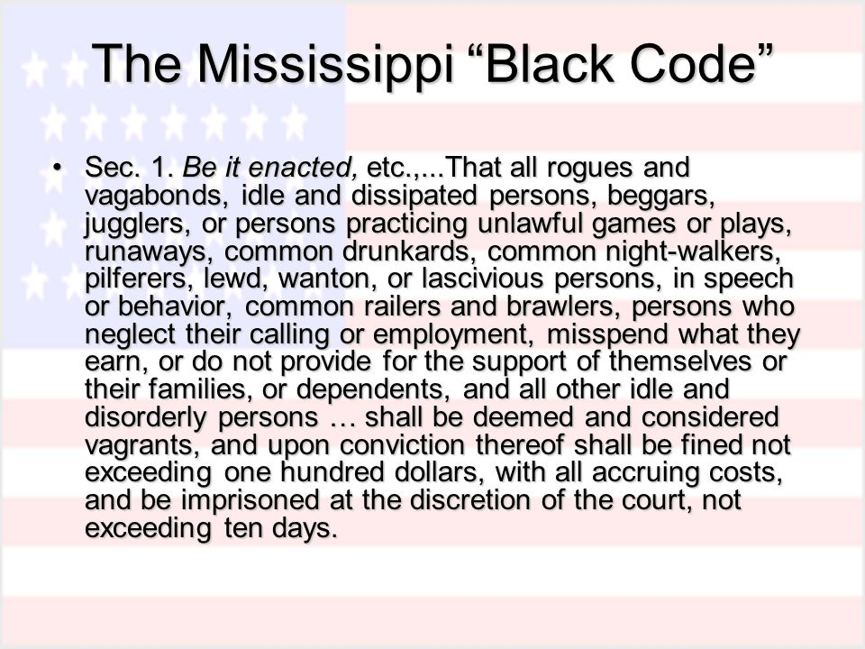 The Mississippi Black Code Sec. 1.