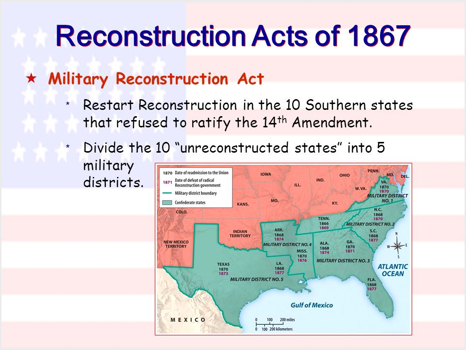 Reconstruction Acts of 1867 Military Reconstruction Act * Restart Reconstruction in the 10 Southern states that refused to ratify the 14 th Amendment.