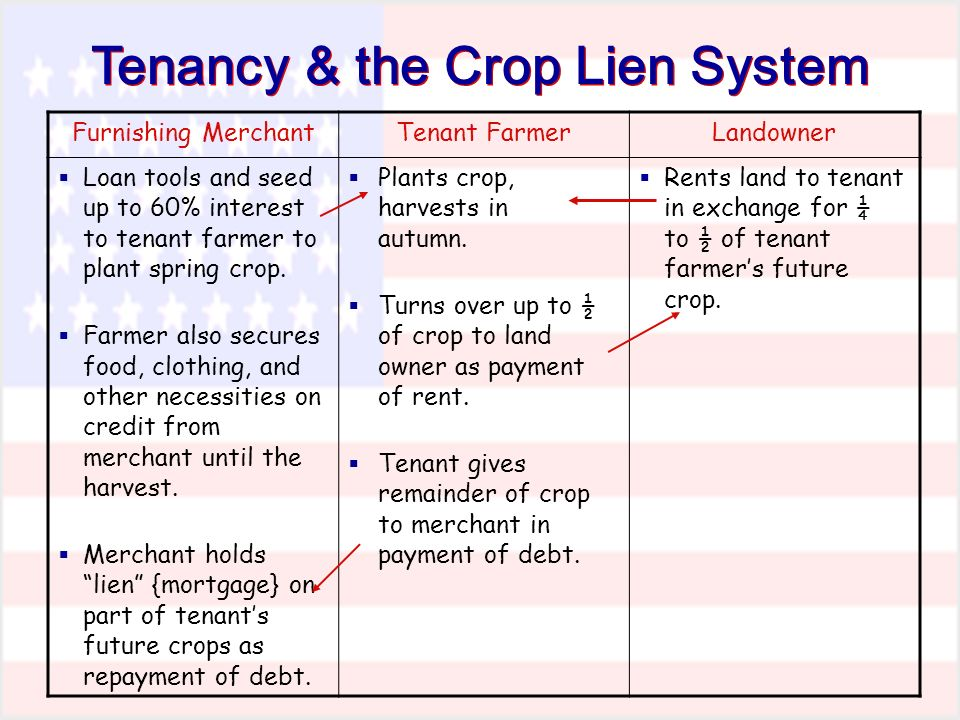 Tenancy & the Crop Lien System Furnishing MerchantTenant FarmerLandowner Loan tools and seed up to 60% interest to tenant farmer to plant spring crop.
