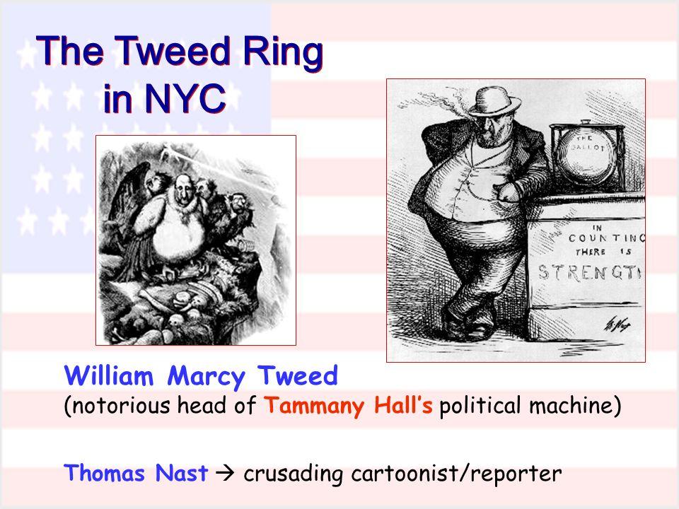 The Tweed Ring in NYC William Marcy Tweed (notorious head of Tammany Halls political machine) Thomas Nast crusading cartoonist/reporter