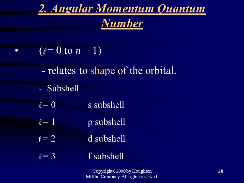 Copyright©2000 by Houghton Mifflin Company. All rights reserved. 28 2. Angular Momentum Quantum Number ( l = 0 to n 1) - relates to shape of the orbit