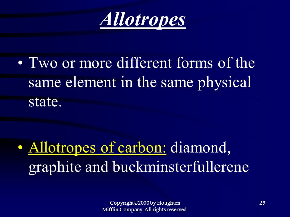 Copyright©2000 by Houghton Mifflin Company. All rights reserved. 25 Allotropes Two or more different forms of the same element in the same physical st