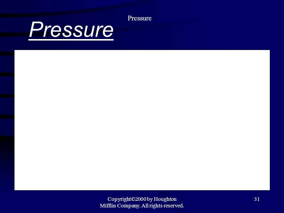 Copyright©2000 by Houghton Mifflin Company. All rights reserved. 31 Pressure Force per unit area Pressure