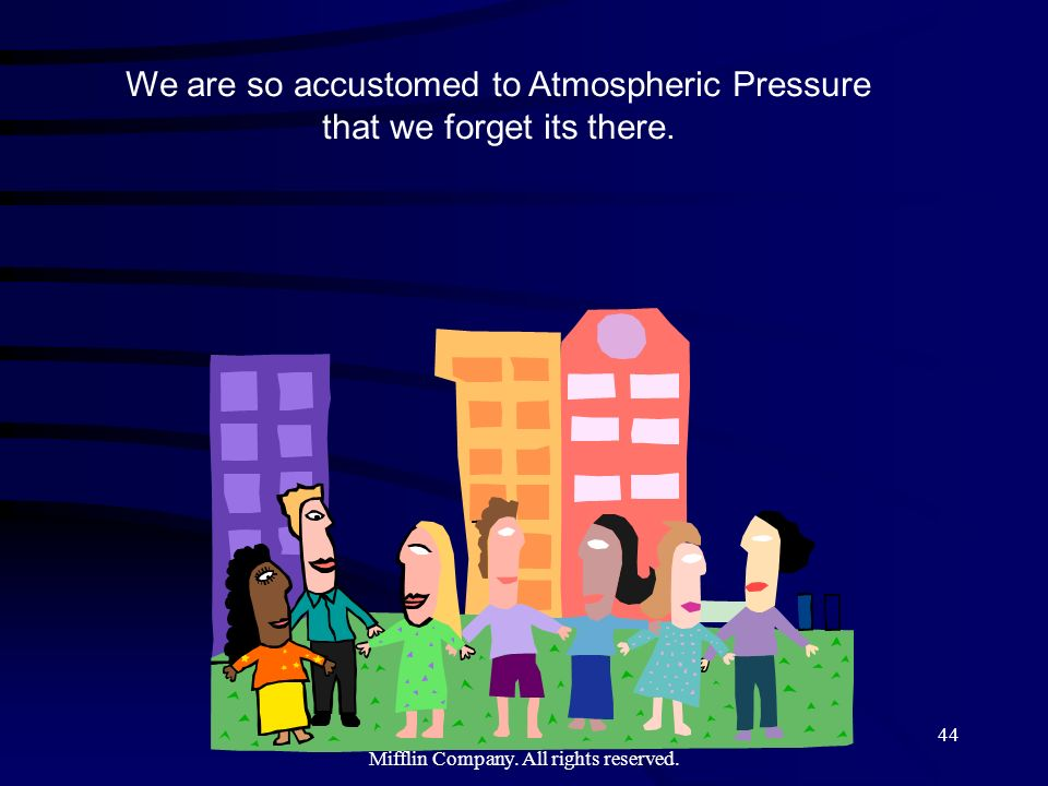 Copyright©2000 by Houghton Mifflin Company. All rights reserved. 44 We are so accustomed to Atmospheric Pressure that we forget its there.