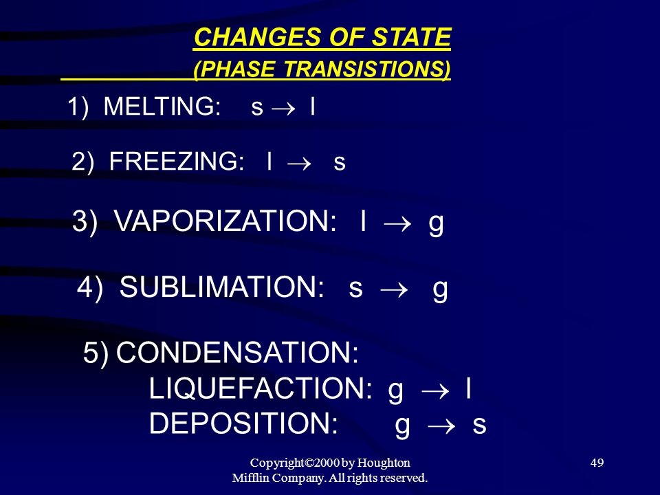 Copyright©2000 by Houghton Mifflin Company. All rights reserved. 49 CHANGES OF STATE (PHASE TRANSISTIONS) 1) MELTING: s l 2) FREEZING: l s 3) VAPORIZA