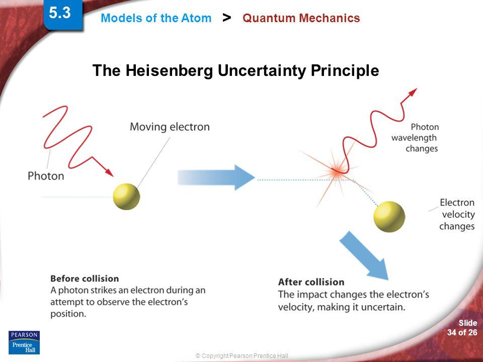 Slide 34 of 26 © Copyright Pearson Prentice Hall Models of the Atom > Quantum Mechanics The Heisenberg Uncertainty Principle 5.3