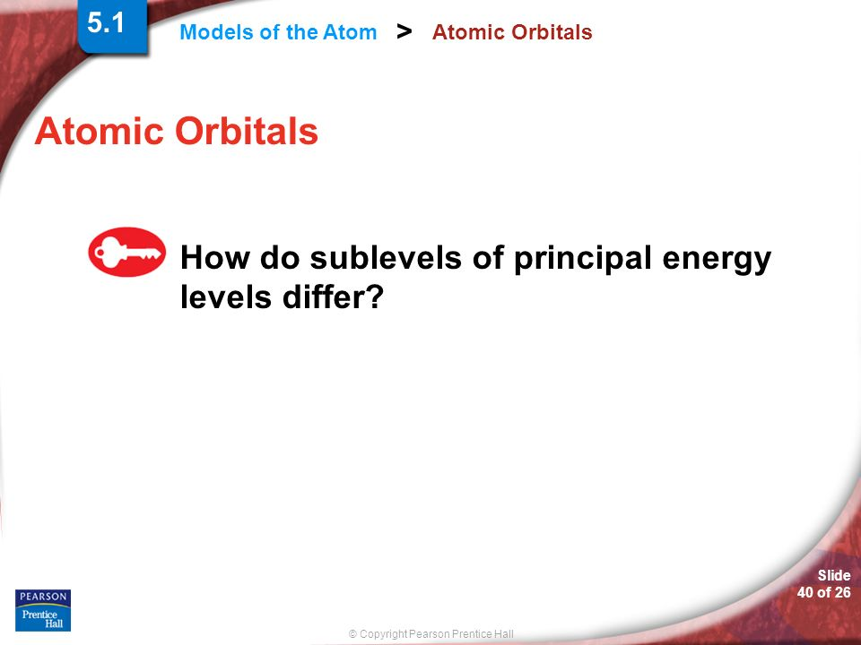 © Copyright Pearson Prentice Hall Models of the Atom > Slide 40 of 26 Atomic Orbitals How do sublevels of principal energy levels differ? 5.1