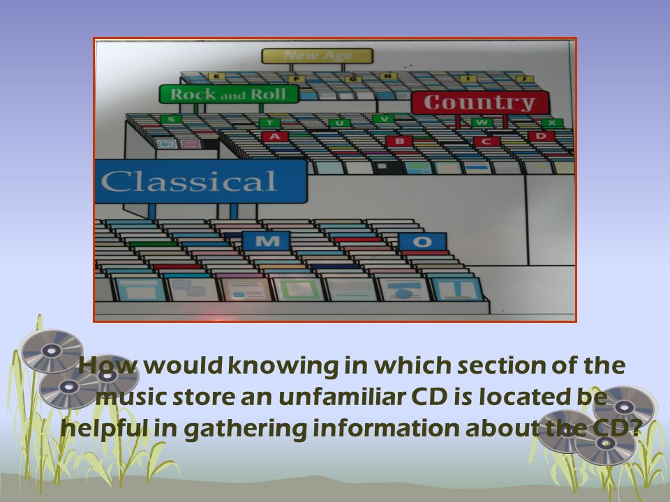 How would knowing in which section of the music store an unfamiliar CD is located be helpful in gathering information about the CD?