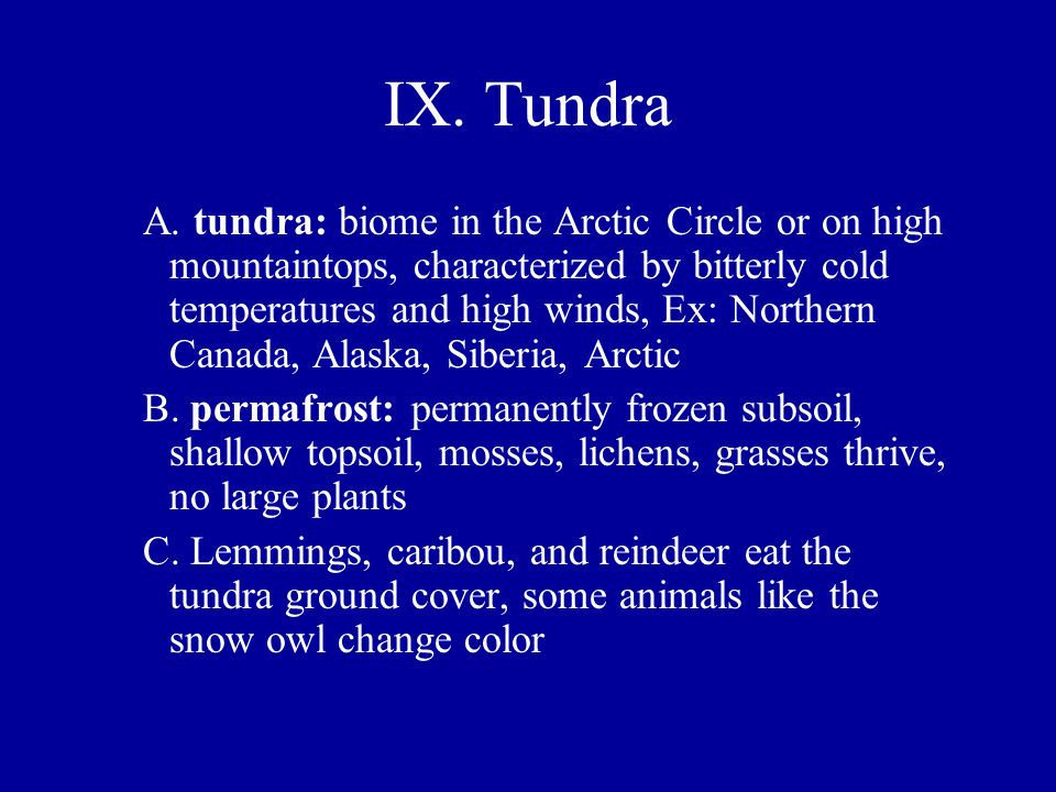 IX. Tundra A. tundra: biome in the Arctic Circle or on high mountaintops, characterized by bitterly cold temperatures and high winds, Ex: Northern Can