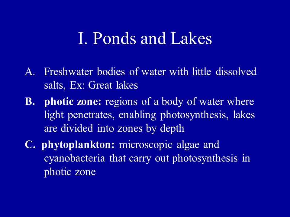 I. Ponds and Lakes A.Freshwater bodies of water with little dissolved salts, Ex: Great lakes B.photic zone: regions of a body of water where light pen