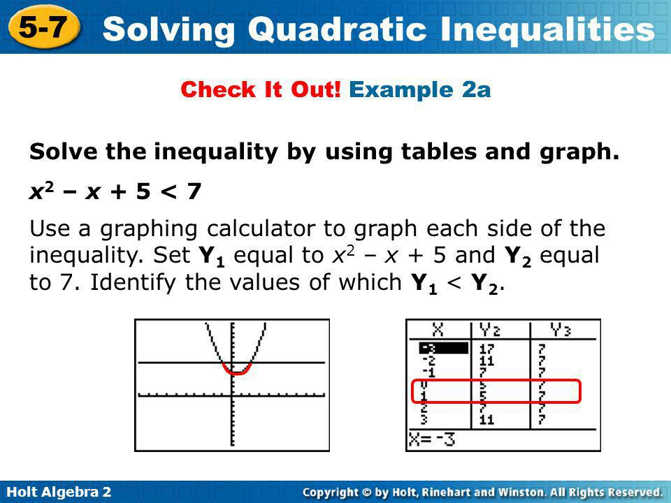 Holt Algebra 2 5-7 Solving Quadratic Inequalities Solve the inequality by using tables and graph. x 2 – x + 5 < 7 Use a graphing calculator to graph e