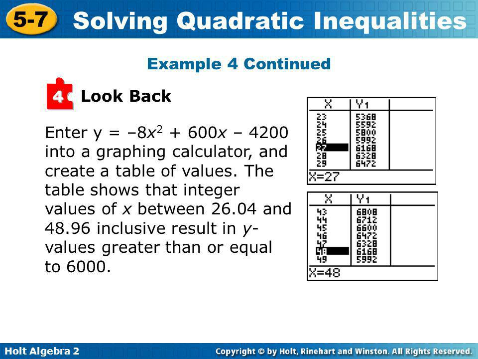 Holt Algebra 2 5-7 Solving Quadratic Inequalities Look Back 4 Enter y = –8x 2 + 600x – 4200 into a graphing calculator, and create a table of values.