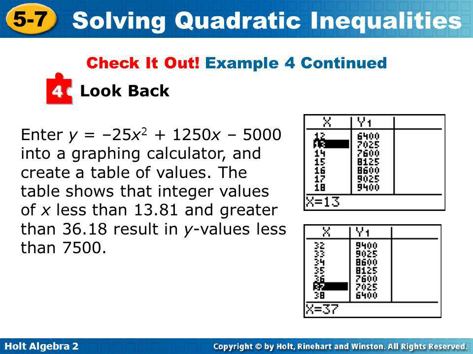 Holt Algebra 2 5-7 Solving Quadratic Inequalities Look Back 4 Enter y = –25x 2 + 1250x – 5000 into a graphing calculator, and create a table of values