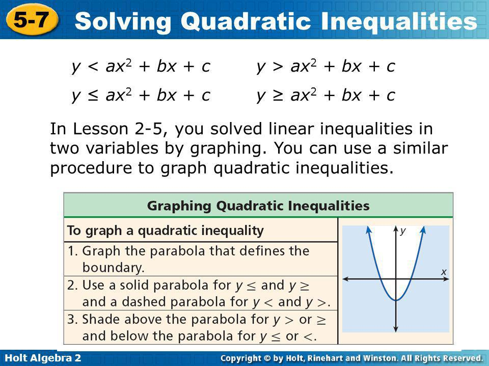 Holt Algebra 2 5-7 Solving Quadratic Inequalities Solve the inequality by using tables or graphs.