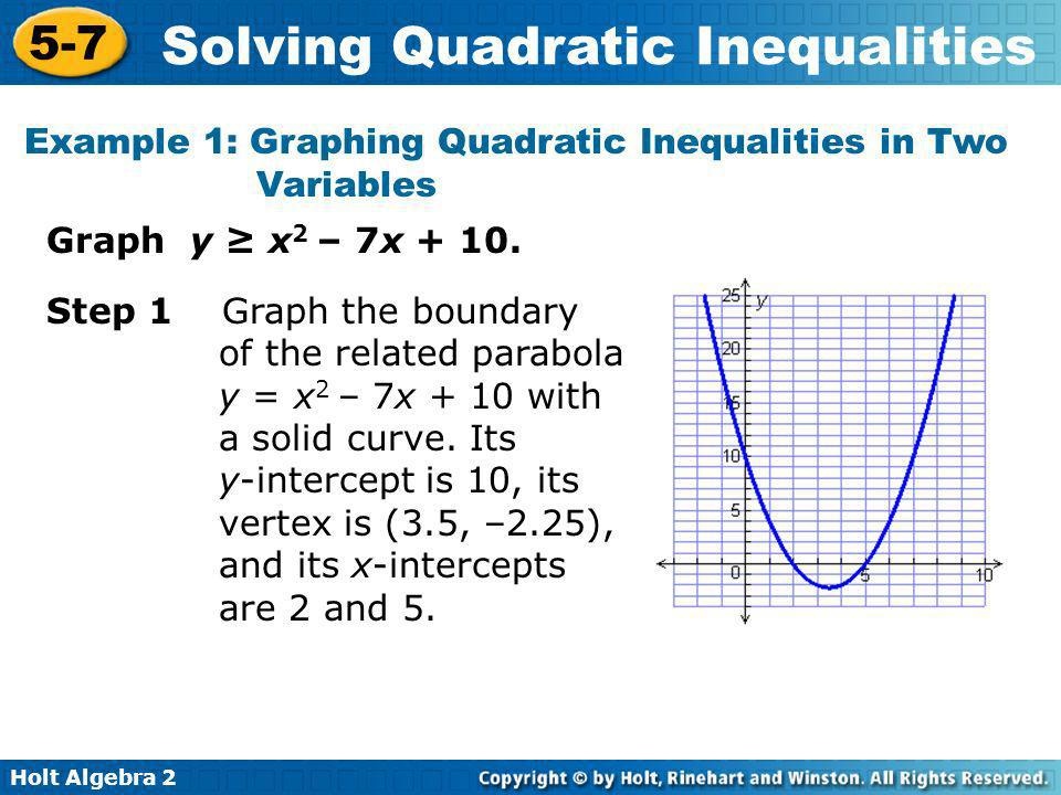 Holt Algebra 2 5-7 Solving Quadratic Inequalities Example 1 Continued Step 2 Shade above the parabola because the solution consists of y-values greater than those on the parabola for corresponding x-values.