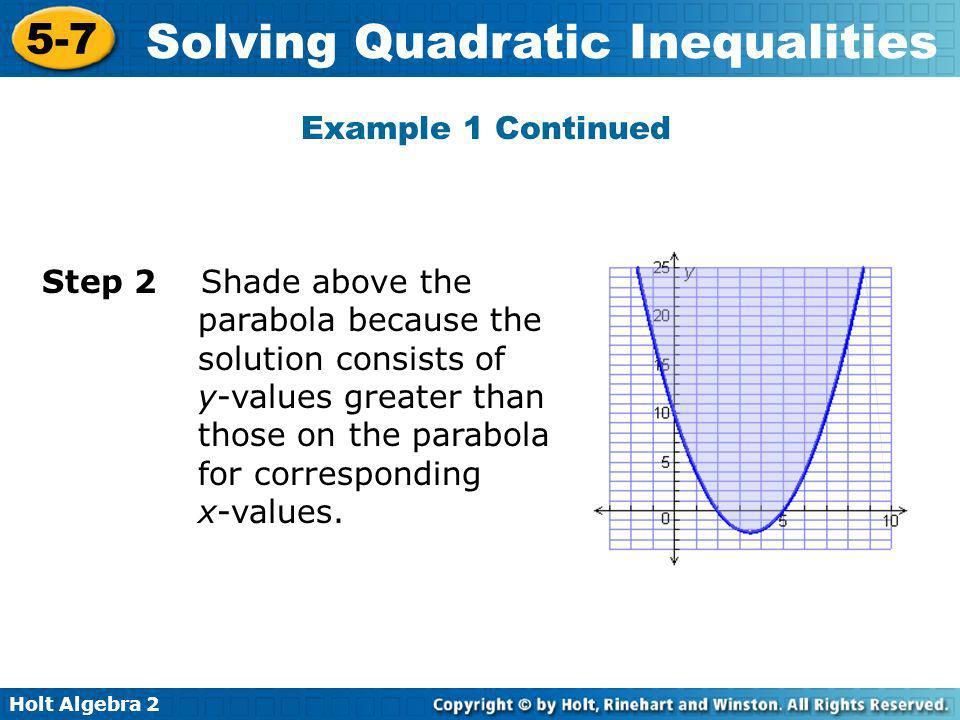 Holt Algebra 2 5-7 Solving Quadratic Inequalities Solve the inequality by using tables and graph.