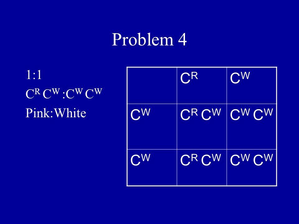 Problem 4 1:1 C R C W :C W C W Pink:White CRCR CWCW CWCW C R C W C W CWCW C R C W C W