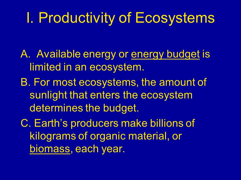 I. Productivity of Ecosystems A. Available energy or energy budget is limited in an ecosystem. B. For most ecosystems, the amount of sunlight that ent