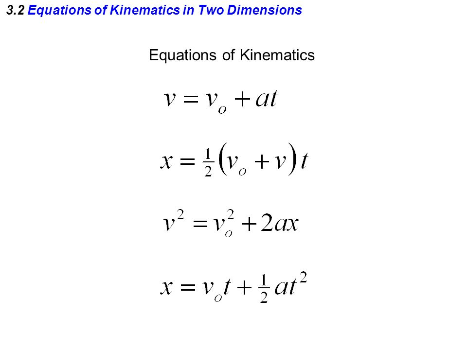 3.2 Equations of Kinematics in Two Dimensions Equations of Kinematics