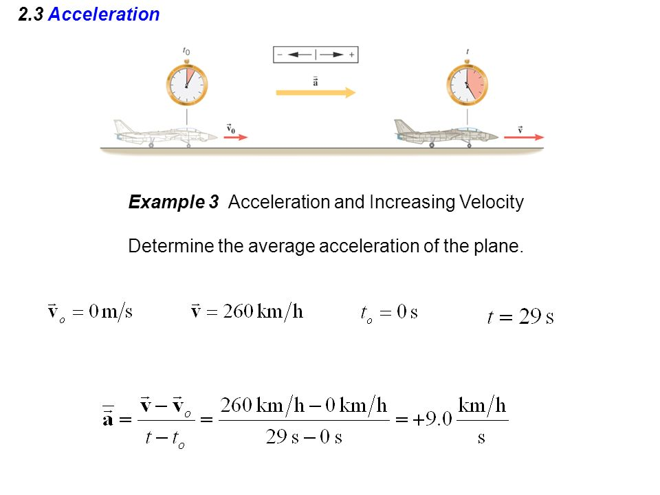 2.3 Acceleration Example 3 Acceleration and Increasing Velocity Determine the average acceleration of the plane.