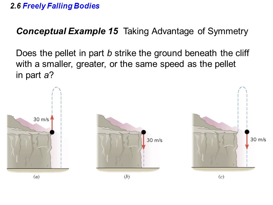 2.6 Freely Falling Bodies Conceptual Example 15 Taking Advantage of Symmetry Does the pellet in part b strike the ground beneath the cliff with a smal