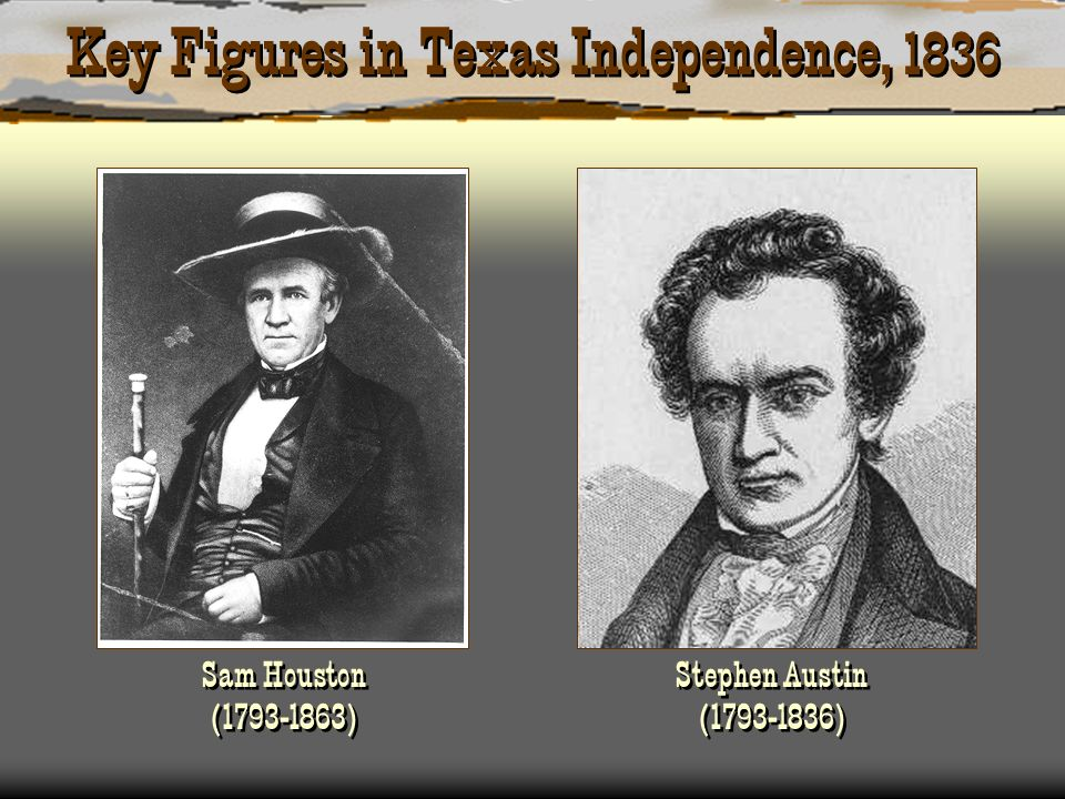 Key Figures in Texas Independence, 1836 Sam Houston (1793-1863) Stephen Austin (1793-1836)