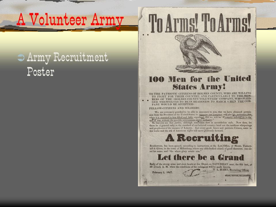 A Volunteer Army Army Recruitment Poster