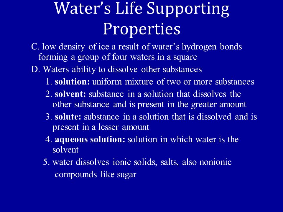 Waters Life Supporting Properties C.
