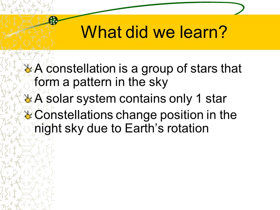 What did we learn? A constellation is a group of stars that form a pattern in the sky A solar system contains only 1 star Constellations change positi